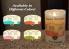 """Happy Campers"" Luminara Flameless LED Candle - RV Safe - Realistic Moving Flame Action - Indoor - Ivory Wax - Remote Ready - 3.5"" x 5"""