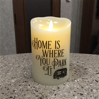 """Home is Where You Park It"" Luminara Flameless LED Candle - RV Safe - Realistic Moving Flame Action - Indoor - Ivory Wax - Remote Ready - 3.5"" x 5"""