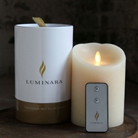 "Luminara - Flameless LED Candle - Premium Gift Packaging With Remote - Indoor - Ivory Wax - Ocean Breeze Scent - 4"" x 5"""