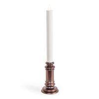 "Luminara Moving Flame LED Window Taper Candle on Brushed Bronze Base - 15/16"" x 13"""