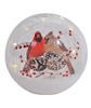 Pair of Cardinals - Crackle Glass LED Globe - Mark Feldstein - 7-Inch Diameter