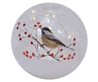 Single Chickadee - Crackle Glass LED Globe - Mark Feldstein - 6-Inch Diameter