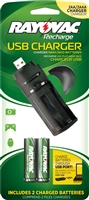Rayovac - 2-Position USB Battery Charger -  AA or AAA - NiMH or NiCad - 2 x AA NiMH Batteries Included