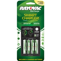 Rayovac - 4-Position Smart Battery Charger -  AA or AAA - NiMH or NiCad - 4 x AA NiMH Batteries Included