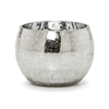 "Silver Crackle Glass Tealight or Votive Candle Cup Holder - 5.2"" x 3.9"""