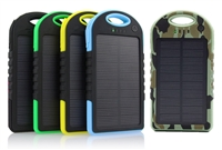 USB Power Bank - Solar - 5000mAh Rechargeable Li-Ion Battery - Weatherproof and Shock Resistant