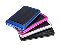 USB Power Bank - Solar - 5000mAh Rechargeable Li-Ion Battery - Aluminum Housing