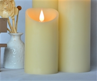 "3D Moving Flame LED Candle - Indoor - Unscented Ivory Wax - Remote Ready - 3"" x 5"""