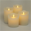 Luminara Moving Flame Action - Indoor Flameless LED Candle Set of 4 - Ivory Dripping Wax - Remote Capable
