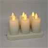 Luminara Moving Flame Action - 6 x Rechargeable Flameless LED Ivory Votive Set w/ Charging Base - Remote Ready