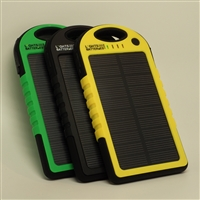 Exclusive USB Power Bank - 1.2W Solar Panel - 5000mAh Rechargeable Li-Polymer Battery - Weatherproof and Shock Resistant