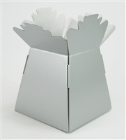 Metallic Handtied Box / Living Vase / Transporter Box Silver