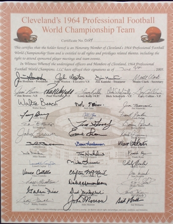 1964 Cleveland Browns NFL World Champions *Autographed* 16x20 Poster w/ 42-Signatures!