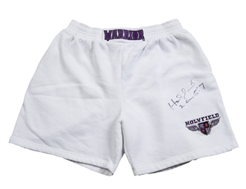 Evander Holyfield Training Used and Signed Boxing Shorts (JSA)!