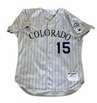 Denny Neagle 2003 Colorado Rockies Game-Worn / Used Road Pinstripe Jersey #15!