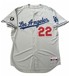 Clayton Kershaw's 2011 Los Angeles Dodgers Game Worm MLB Home Jersey!