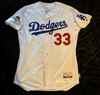 Scott Van Slyke's  2015 Los Angeles Dodgers Game-Worn / Used Home Jersey #33 with the Postseason Patch and MLB Authentication Hologram.