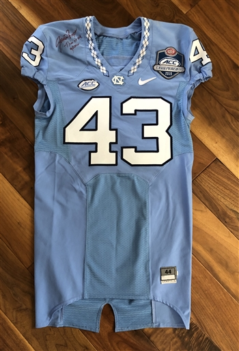 Jessie Roger's 2015 North Carolina Tar Heels ACC Championship Game-Worn Football Jersey!