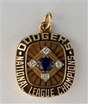 "1977 Los Angeles Dodgers ""National League"" Champions 14K Gold Pendant With All Real Stones"