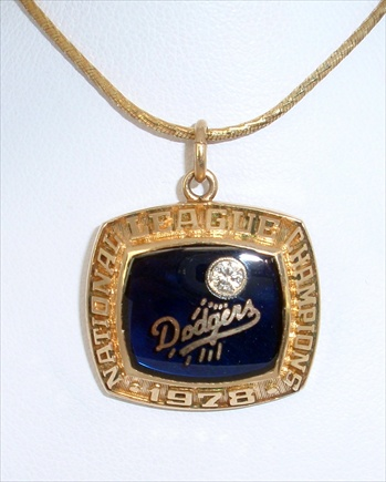"1978 Los Angeles Dodgers World Series ""National League"" Champions 14K Gold & Diamond Pendant"