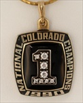 "1990 Colorado Bufaloes ""National Champions"" 10K  Gold Pendant Made by Jostens"