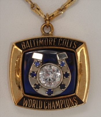 1970 Baltimore Colts Super Bowl V Champions 10K Yellow Gold Pendant!