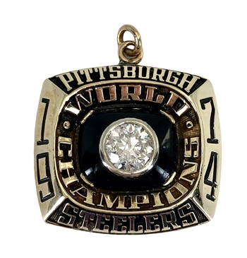 1974 Pittsburgh Steelers NFL Super Bowl Champions 10K Gold Pendant with a Real Diamond!