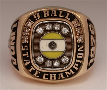 1976 Ladies 9-Ball Billards Championship 14K Gold Ring with all Real Diamonds