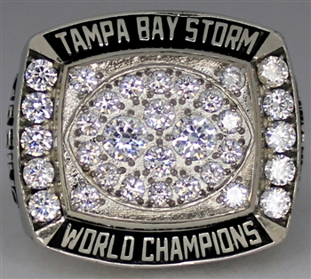 1993 Tampa Bay Storm Arena Football Champions 10K Gold Ring with wooden championship box made by Herff Jones