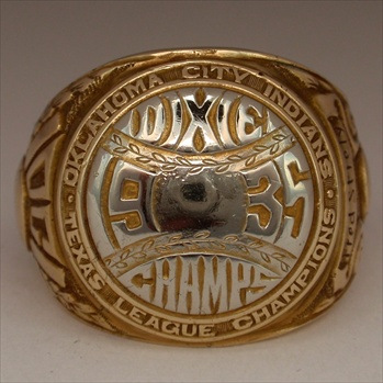 "1935 Oklahoma City Indians ""Texas League Champions"" 14K Gold Ring"