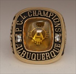 "1981 Albuquerque Dukes ""Pacific Coast League"" Champions 10K Yellow Gold Ring!"