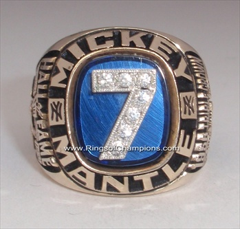 Mickey Mantle's 1983 Lifetime Achievement 10K Gold Retirement Ring #7