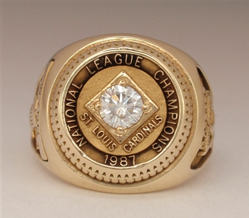 "1987 St. Louis Cardinals World Series ""N.L."" Champions 10K Gold Ladies Ring"