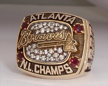 "1996 Atlanta Braves World Series ""National league"" Champions 10K Gold Ring"