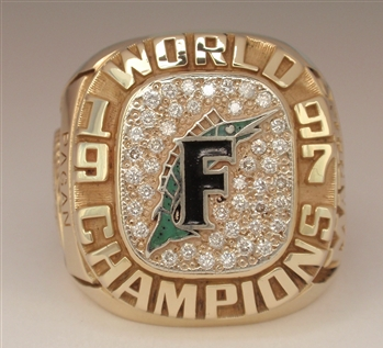 1997 Florida Marlins World Series Champions 10K Gold Ring With All Real Diamonds