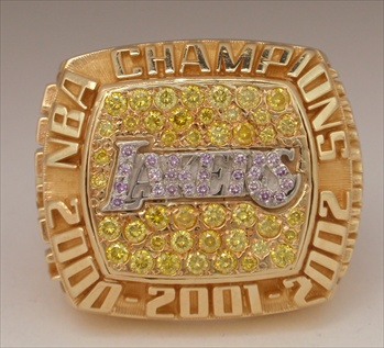 "2002 Los Angeles Lakers NBA ""World Champions"" 14K Gold Ring With All Real Diamonds"
