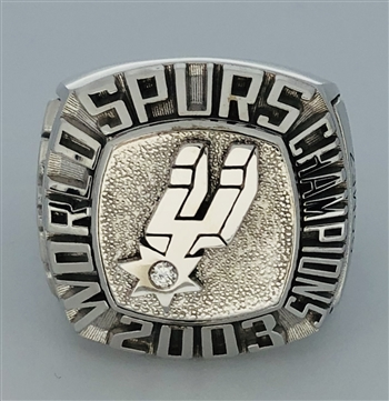 "2003 San Antonio Spurs NBA ""World Champions"" 14K White Gold Staff Ring!"