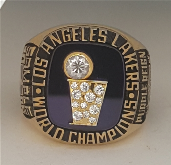 "1985 Los Angeles Lakers NBA ""World Champions"" 14K Gold-Plated Ring"