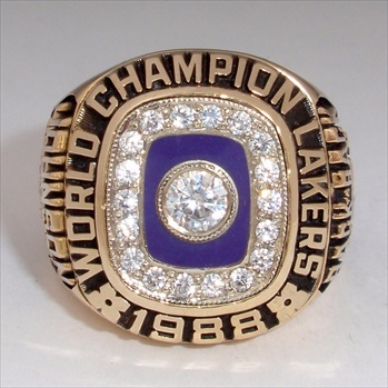 "1988 Los Angeles Lakers NBA ""World Champions"" 10K Gold Ring"