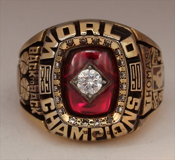 "1990 Detroit Pistons NBA ""World Champions"" 14K Gold-Plated Ladies Ring"