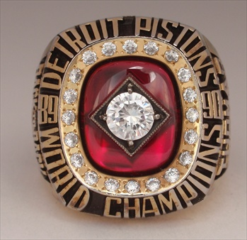 "1990 Detroit Pistons NBA ""World Champions"" 14K Gold-Plated Ring"