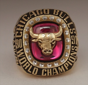 "1991 Chicago Bulls NBA World Champions ""Thanks MJ"" 14K Gold Ring."