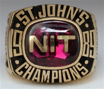 "1989 St. John's Red Storm NCAA Basketball ""NIT"" Champions 10K Gold Sample Ring"