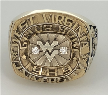 1989 West Virginia Mountaineers NCAA Football Gator Bowl Championship Ring!