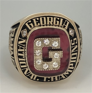 1990 Georgia Bulldogs NCAA Baseball World Series Champions 10K Gold Ring!