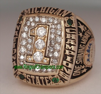 "2000 Michigan State Spartans NCAA Basketball ""National Champions"" 10K Gold Ring"