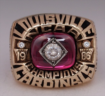 "1986 Louisville Cardinals NCAA Basketball ""National Champions"" 10K Gold Ring!"
