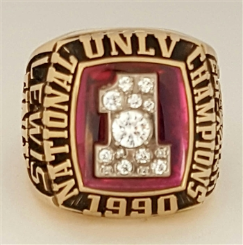 "1990 UNLV Runnin' Rebels ""National Champions"" 10K Yellow Gold Basketball Ring!"