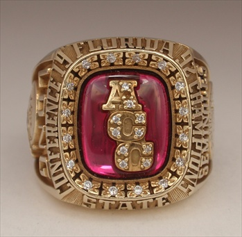 "1992 FSU Florida State Seminoles ""A.C.C."" Champions 10K Gold Football Ring"