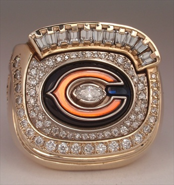 "2006 Chicago Bears Super Bowl XLI ""N.F.C."" Champions 10K Gold & Diamond Player's Ring"